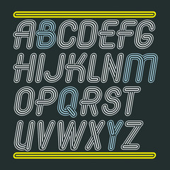 Set of trendy modern vector capital alphabet letters isolated. Disco cursive font for use as business poster design elements. Created using triple stripy, parallel lines.