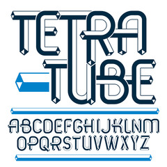 Vector upper case modern alphabet letters, abc set. Artistic regular font, typescript for use in logo creation. Made using cube tetra tube design.
