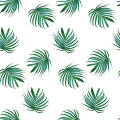 Vector palm leaf background. Tropical leaves seamless pattern. Exotic design. Hawaiian print. Jungle plants. Summer texture.