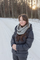 woman on a winter road