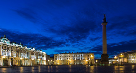 The State Hermitage Museum, a museum of art and culture in Saint Petersburg, Russia. White nights.