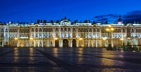 Winter Palace (as re-built between 1754 and 1762). The State Hermitage Museum, a museum of art and culture in Saint Petersburg, Russia. White nights.