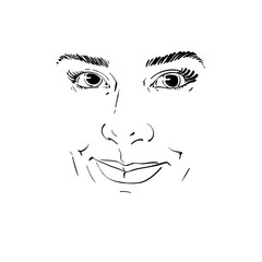 Facial expression, hand-drawn illustration of face of a smiling girl with positive emotional expressions. Beautiful features of lady visage.