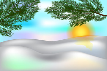 Winter background with place for your text.  Snow and twigs of pine