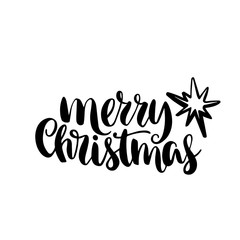 Merry Christmas quote, vector text for design greeting cards, photo overlays, prints, posters. Hand drawn lettering.