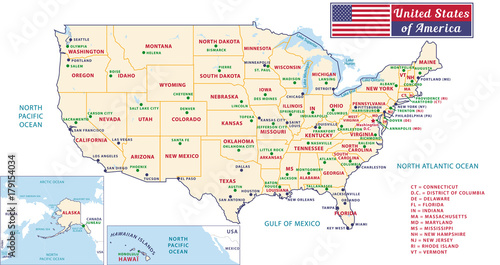 States capitals and major cities of the United States of ...