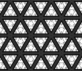 Abstract seamless geometric pattern with triangle in black, white tones. Vector illustration. For design, wallpaper, print
