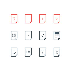 Vector Illustration Of 12 Page Icons. Editable Pack Of Munus, Percent, Code And Other Elements.