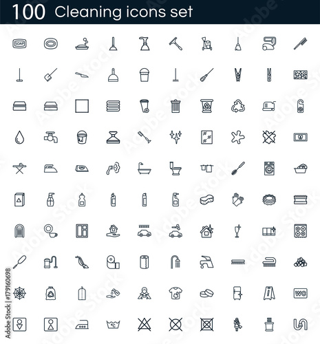 cleaning icon set with 100 vector pictograms simple outline clean
