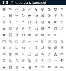 Photography icon set with 100 vector pictograms. Simple outline camera icons isolated on a white background. Good for apps and web sites.