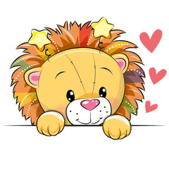 Cute Cartoon Lion with hearts