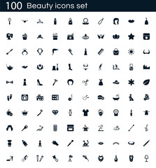 beauty icon set with 100 vector pictograms. Simple filled spa icons isolated on a white background. Good for apps and web sites.