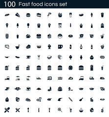 Fast food icon set with 100 vector pictograms. Simple filled restaurant icons isolated on a white background. Good for apps and web sites.