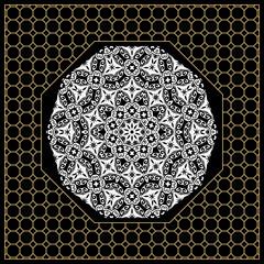 vector illustration. pattern with floral mandala, decorative border. design for print fabric, bandana. black, gold color