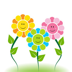 Happy faces flowers decoration logo