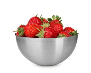 Bowl of fresh ripe strawberries, isolated on white