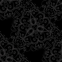 dark monochrome seamless background with decorative ornament . vector illustration