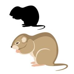 mouse vole vector illustration flat style black silhouette set side