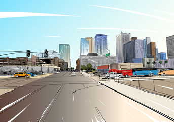 Phoenix. Arizona. USA. Hand drawn.Unusual Street sketch, vector illustration