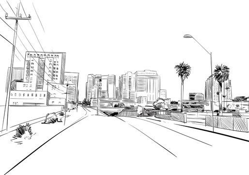 Phoenix. Arizona. USA. Hand drawn.Unusual Street sketch, vector illustration
