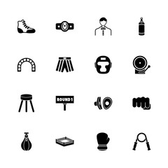 Boxing and Fighting icons - Expand to any size - Change to any colour. Flat Vector Icons - Black Illustration on White Background.