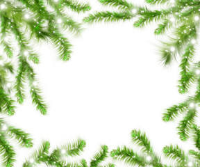 Christmas tree branches and space for text. Realistic fir-tree border, frame isolated on white