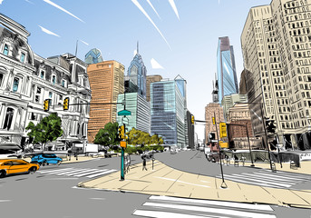 Philadelphia. Pennsylvania. USA. Hand drawn.Unusual Street sketch, vector illustration