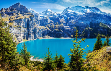 Switzerland Kandersteg scenic view of famous Oeschinensee in late summer Wall mural