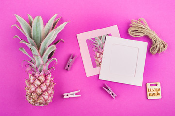 Pink pineapple on pink