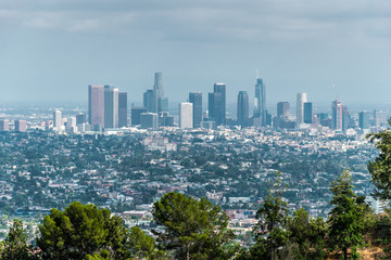 Skyscrapers of downtown Los Angeles. View from the observation deck in Griffith Park