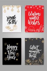 Set of cute Christmas cards. Posters collection. Vector template for greeting cards
