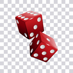 Pair of red casino dice transparent background vector illustration