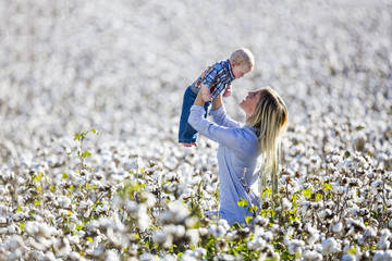 Mother and Son In A Cotton Field
