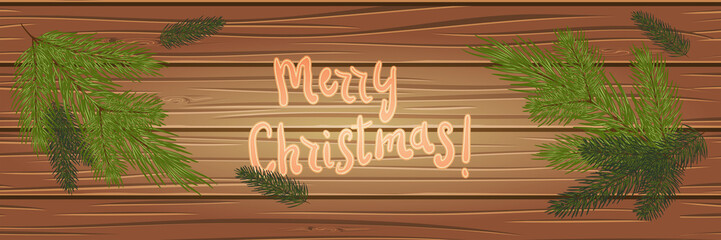 Christmas tree branches on a wooden background. top view. Christmas card. festive background. Vector illustration. Eps 10.