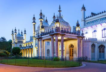Royal Pavilion in Brighton at night, England
