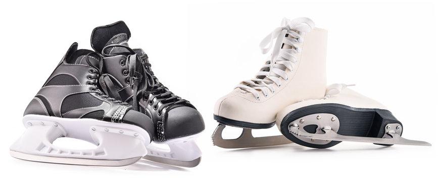 Ice hockey skates and figure skates isolated on white