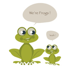 Cute two frogs isolated on white background and speech balloons. Vector Illustration