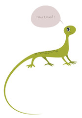 Cute lizard isolated on white background and speech balloon. Vector Illustration