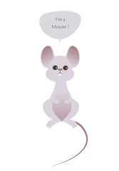 Cute mouse isolated on white background and speech balloon. Vector Illustration