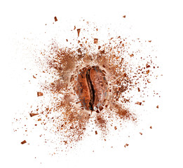 Poster Café en grains Explosion of coffee bean with hot steam, isolated on white background