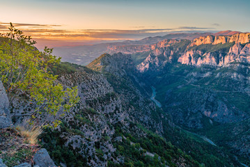 Verdon gorges at sunset
