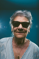Cool senior woman with sunglasses