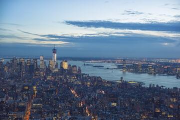 Manhattan skyline during twilight