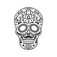Sugar skull. Black tattoo. Mexican Day of the Dead. Vector illustration.
