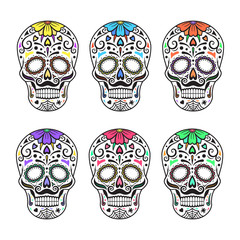 Sugar skulls. Colorful tattoos. Mexican Day of the Dead. Vector illustration.