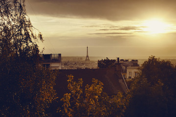 View of Paris, France and Eiffel tower at sunset