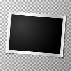 Frame retro photo on transparent background. Horizontal blank old photography. Vector