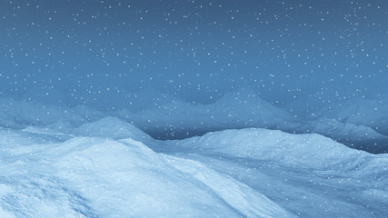 3d generated winter landscape: Misty mountains in the snow. Winter wonderland.