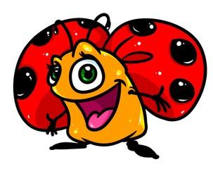 Merry ladybug insect cartoon illustration isolated image