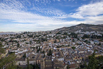 Granada in Southern Spain shot from above.